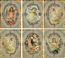Vintage inspired angel wings fairy cherubs tags ATC altered art card set of 6