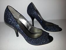 "Nine West Sparkle Glitter Pump Peep Toe Shoes 8M Preowned 4"" Heels"