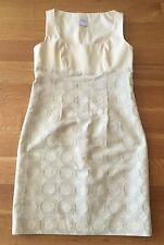 RED VALENTINO Ivory/cream With Gold Brocade Circles Sleeveless Dress Sz 44 US 6