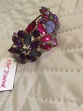 Betsey Johnson Gold With Pink And Purple Crystals Leaflike Flowers Bracelet