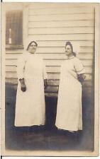 Stoic Women Maid? Uniforms Aprons Bonnets Vintage 1900s Real Photo Postcard
