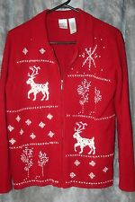 r- CLOTHES WOMENS SWEATER HOLIDAY CHRISTMAS UGLY(?) CONTEST GENTLY USED RED KNIT