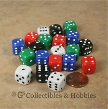 NEW Set of 20 Multicolored 12mm ROUNDED EDGE RPG Game D6 Dice - 5 Colors