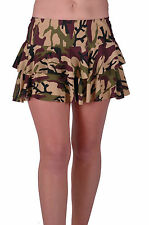 Womens Army Camouflage Print Pattern Design Casual Flared Short Mini Skirts