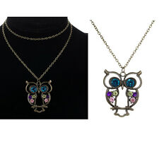 Animal Owl Sweater Shirt Chain Blue Topaz Hollow Pendant Simulated Necklace Gift