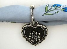 EDELWEISS HEART ON HORSESHOE PENDANT Valentine dirndl scarf ring Oktoberfest NEW