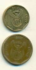 2 DIFFERENT COINS from SOUTH AFRICA - 20 & 50 CENTS (BOTH DATING 2007)
