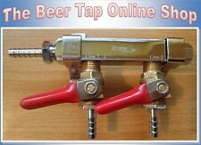 2-Way Splitter CO2 Beer Gas Manifold/Distributor 1/4 Barb Check Valve. Regulator