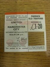 30/09/1978 Ticket: Manchester United v Manchester City [Token Removed From Ticke