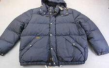 RALPH LAUREN Mens NAVY BLUE LEATHER DOWN PUFFER JACKET HOODED NWT 2XB BIG  $345