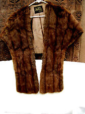 Vintage Genuine Brown Mink Fur Stole Wrap Cape Shawl Jacket Mother Of Bride VGUC