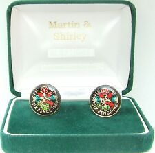 1960 Six pence cufflinks  real coins in Black & Colours