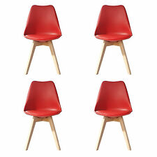 4 X (4X) (X4) RED Jamie Dining Chair Wood Retro Designer SOFT PAD FAUX LEATHER