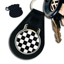MASONIC CHEQUERED CARPET FLOOR LEATHER KEYRING / KEYFOB
