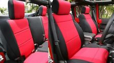 Jeep Wrangler 2007-10 neoprene Unlimited Rubicon JK FULL seat cover Red jpyes4d