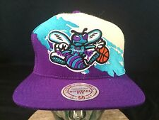 CHARLOTTE HORNETS SPLASH SNAPBACK BASEBALL CAP HAT WOOL WHITE NBA MITCHELL NESS