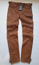 RALPH LAUREN BLUE LABEL BROWN STRETCH LEATHER MOTO SKINNY JEAN w LACE-UP HEM- 8