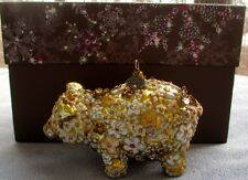 Jay Strongwater Floral Blossom Pig Ornament Swarovski Elements New in Box