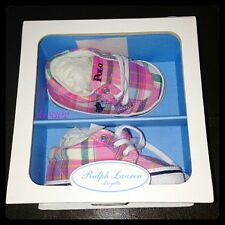 New RALPH LAUREN Madras Plaid BRISBANE Layette Shoes - Fuchsia - Size 3 #25475