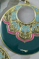 GREEN BOHO EARRINGS CIRCLE EXOTIC ETHNIC COUNTRY WESTERN FOREVER 21 STYLE