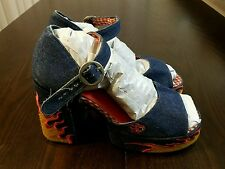 Vtg Women's NAONA Denim Fire Flames Club Platform Heels Shoes Size 12 - Fabulous
