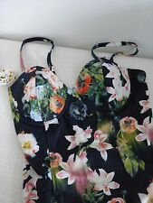 BNWT Ted Baker Meekka Opulent Bloom Angled Floral Print Swimsuit  size 34CD