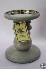 """NWT BATH & BODY WORKS HOME WOODEN CANDLE HOLDER LARGE 6"""" HIGH GRAY FOR 14.5 OZ"""