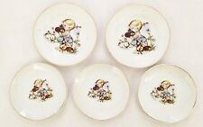 White Porcelain JAPAN Child Tea Set Plates Little Girl Design - Lot of 5 Pieces