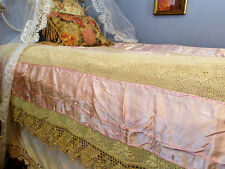 Vintage Bedspread, Satin Throw, Lightweight Throw, Crochet Lace, Twin Size