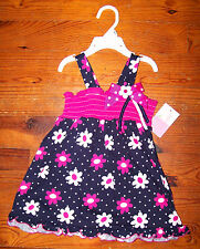 New! Girls SOPHIE ROSE Blue White Pink Polka Dot Sundress Smock Dress 18 Months
