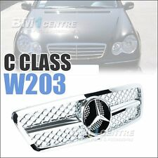 Front Mesh Grille Grill For Mercedes Benz C Class W203 00-06 Chrome AMG