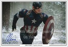 Avengers Chris Evans Captain America Signed Photo Autograph Pre-Print Size A4