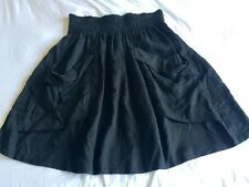 WITCHERY Black gathered skirt front feature pockets elastic waist S 10 12 EC