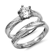 .925 Sterling Silver Wedding Ring set size 7 Engagement CZ Bridal Ladies w52