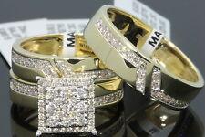 10K YELLOW GOLD .89 CT MEN WOMEN DIAMOND TRIO ENGAGEMENT WEDDING RING BAND SET