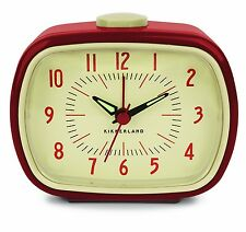 Kikkerland Retro Red Vintage Alarm Clock Glow In The Dark Hands Battery Operated