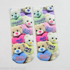 TEDDY HEARTS Thank U, I ❤ U, BFF Trainer SOCKS UK Adult 3-7 3D Digital Photo New
