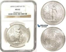 ZM333, Great Britain, Trade Dollar 1899-B, Bombay, Silver, NGC MS62