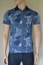 NEW Abercrombie & Fitch Classic Printed Polo Shirt Navy Blue Floral Pattern L