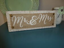 MR & MRS Wood & Burlap SIGN Wedding Sweetheart Table Photo Prop SCRIPT LETTERS