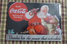 Coca Cola Christmas Tin Metal Sign Painted Poster Wall Art Office Hobby Pub Shop