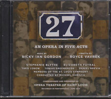 """""""27: AN OPERA IN FIVE ACTS"""" FACTORY SEALED BRAND NEW 2CDS 2014 RICKY IAN GORDON"""