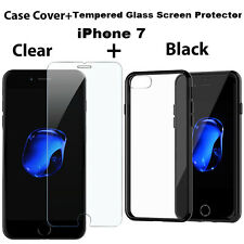 Black Metal Gel Crystal Clear Cover For iPhone 7 + Free Tempered Glass Protector