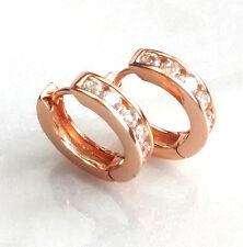 Fashion1uk 18 mm Chiaro simulato Diamanti Rosa Oro Placcato Huggie Hoop Orecchini