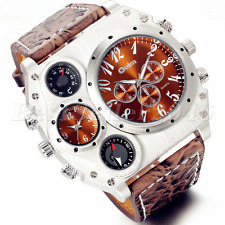 Fashion Mens Military Stainless Steel Dial Leather Band Sport Quartz Wrist