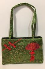 Green Fabric Shoulder Tote Bag With Chinese Design Thin Profile