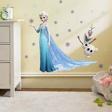 Frozen Elsa & Olaf Wall Sticker Princess Kids Decor Decal Wallpaper Plastic