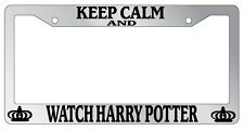 Chrome License Plate Frame Keep Calm And Watch Harry Potter Auto Accessory