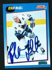 Bob McGill #560 signed autograph 1991-92 Score Hockey Canadian Release Card