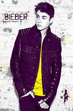 2013 JUSTIN BIEBER IN YELLOW SHIRT AGAINST WALL POSTER NEW 22x34 FAST FREE SHIP